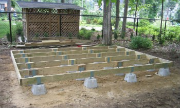 building shed base with deck blocks