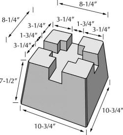 deck block dimensions