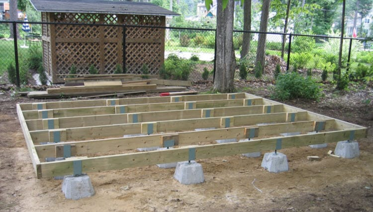 laying deck blocks