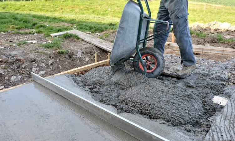 building concrete slab shed foundation