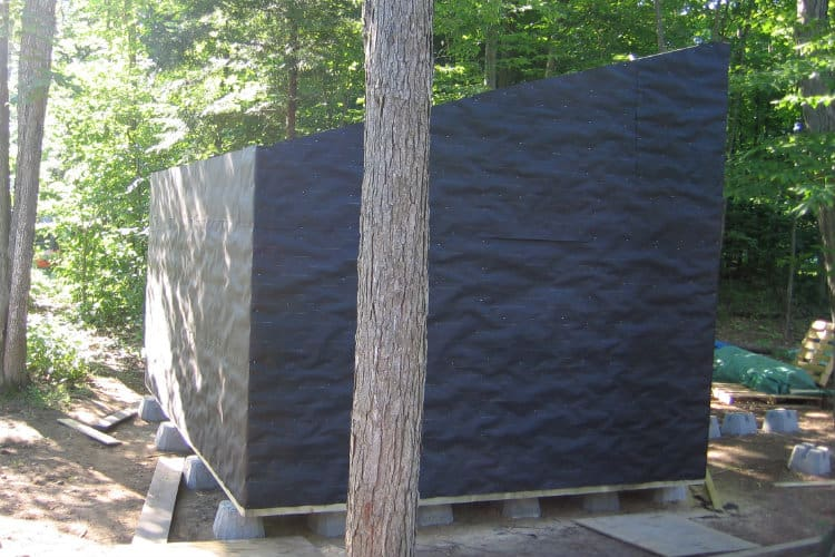 side wall with tar paper