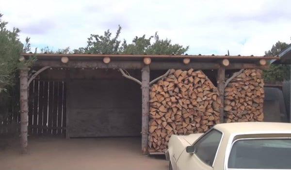 Rustic Log Firewood Shed