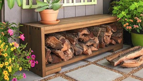 Bench With Firewood Storage