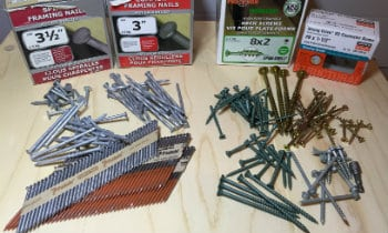Nails or screws for shed building
