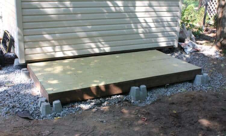 shed floor frame with plywood