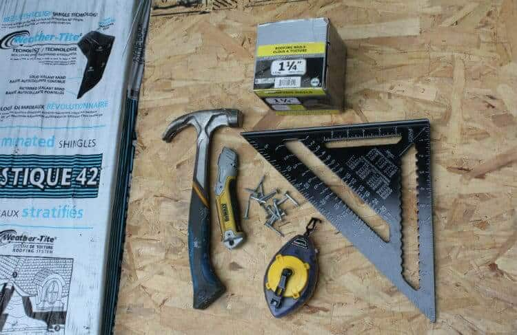 shed roofing tools and materials