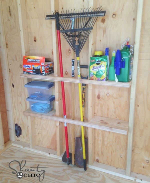 how to build shelves for a shed