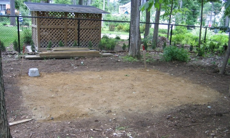 Level ground for shed