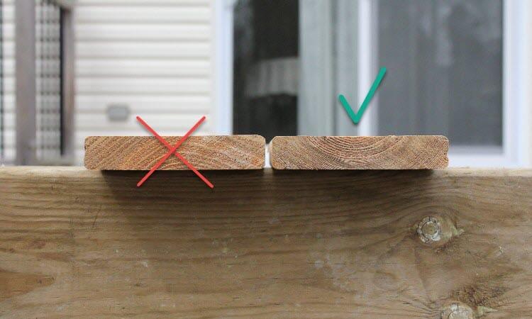 Install boards bark side down