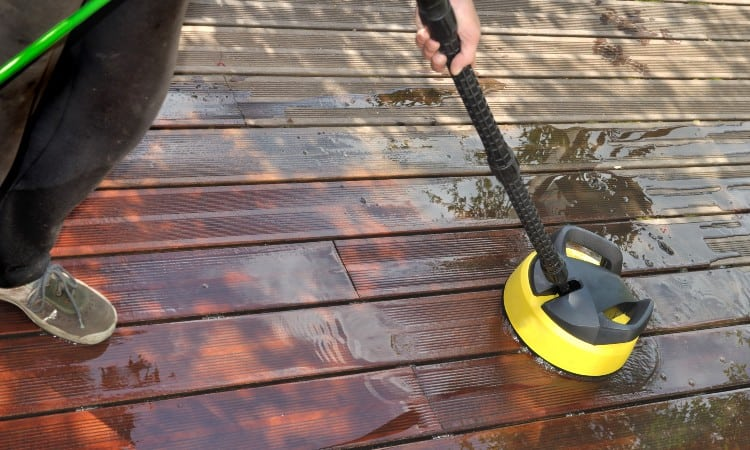 Removing deck paint with sander