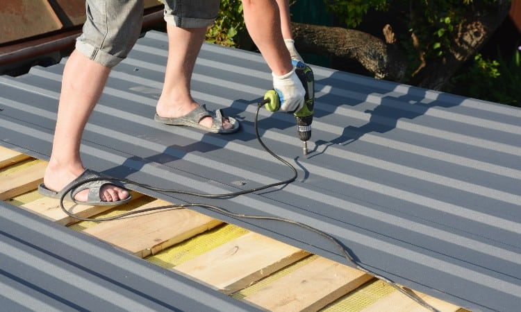 Installing metal roofing on a shed