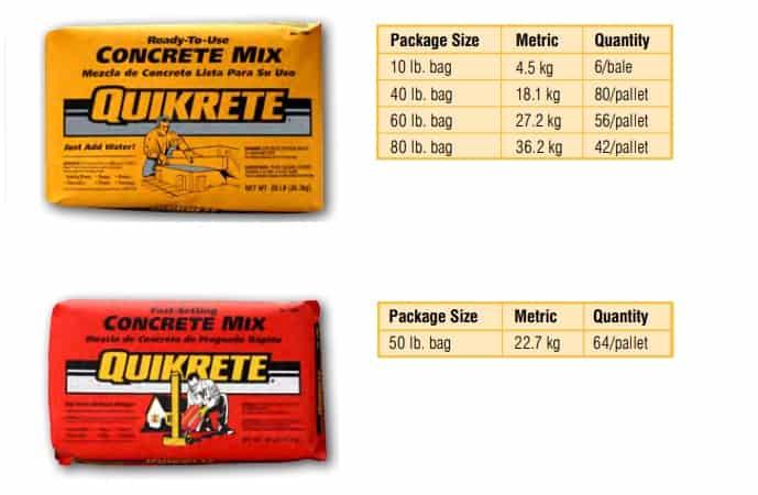 Bags of Quikrete concrete mix
