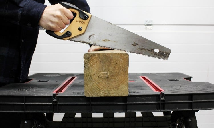Cut a 6x6 post with handsaw